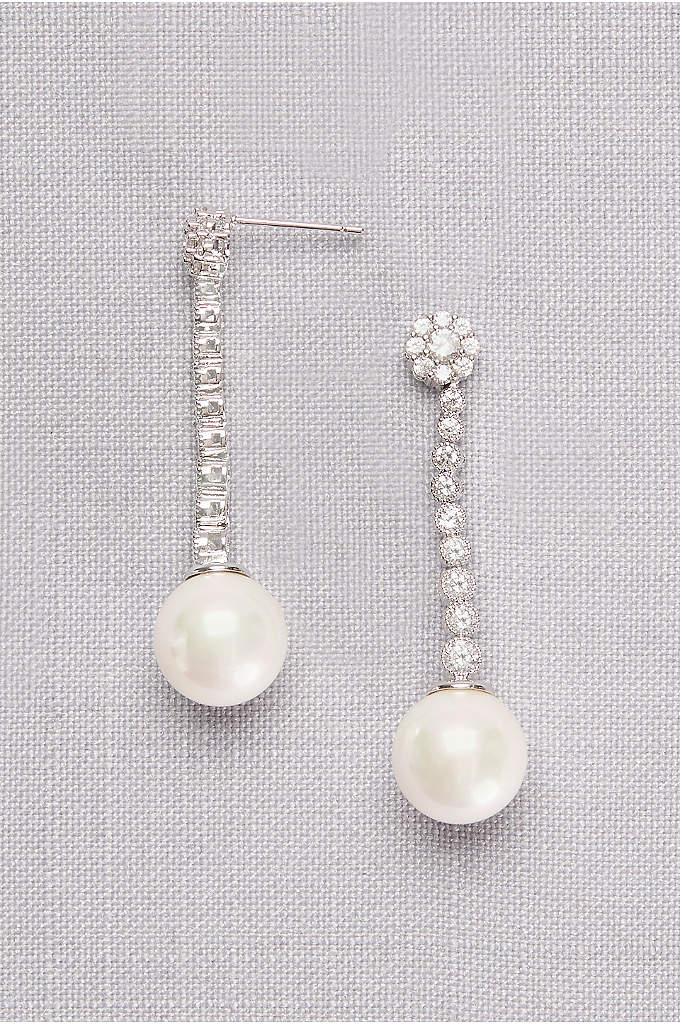 Graduated Cubic Zirconia Drop Earrings with Pearls - Finished with a single lustrous pearl, these dangly