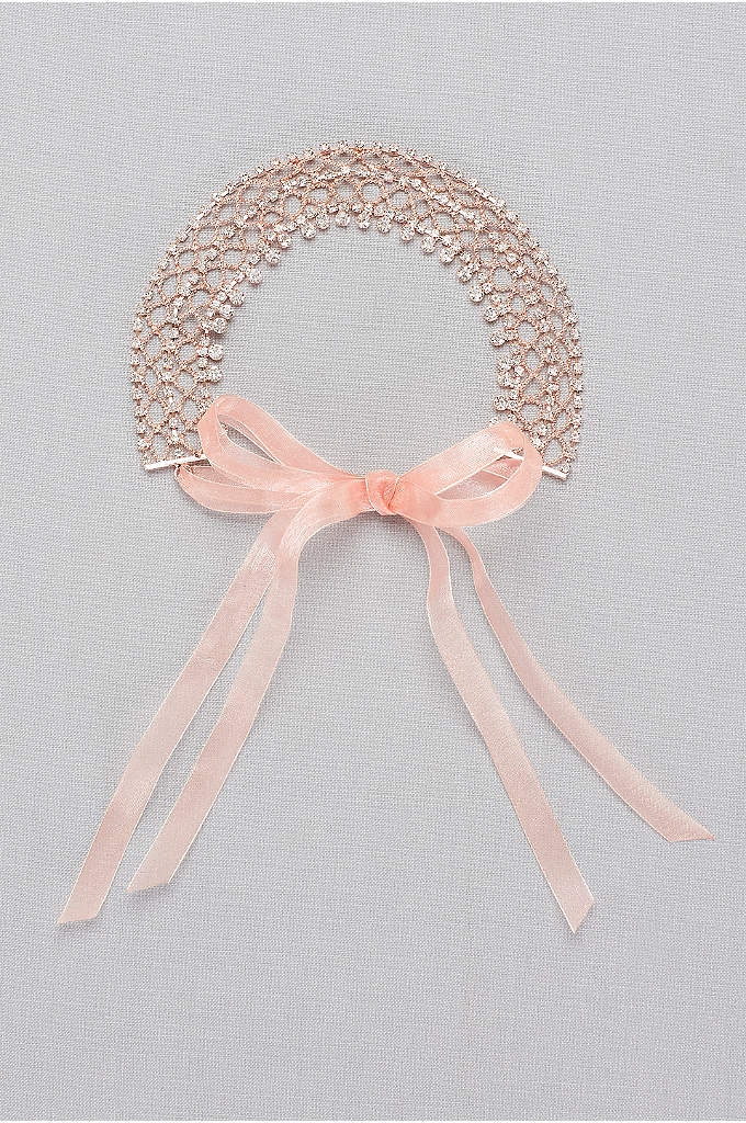 Crystal Lattice Headband with Organza Ties - A delicate filigree framework holds tiny crystals in
