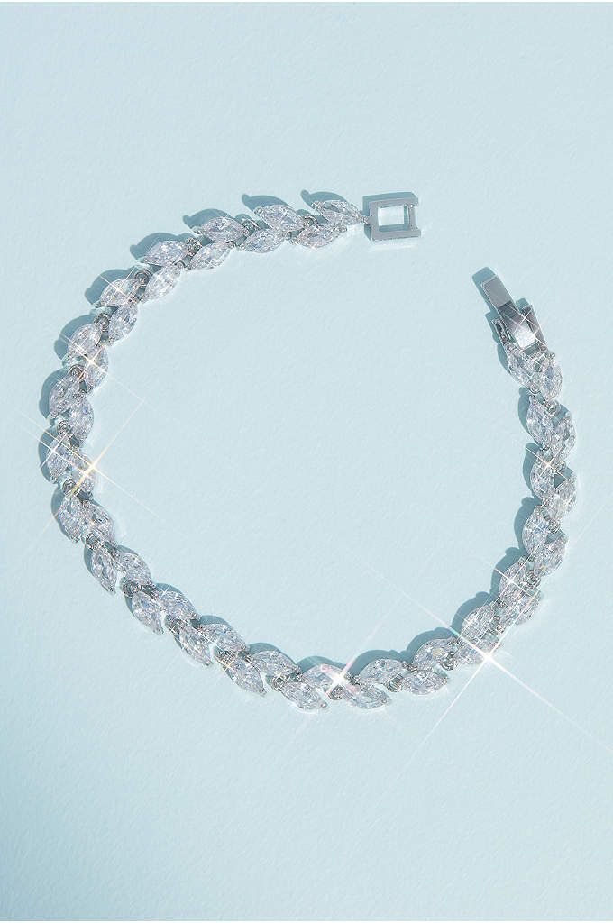 Sparkling Cubic Zirconia Vine Bracelet - This small-scale crystal bracelet twines around the wrist