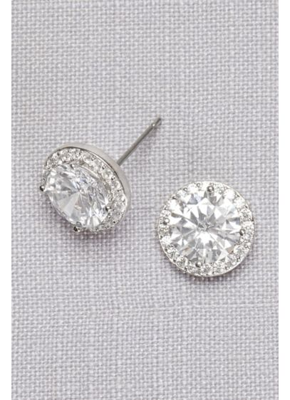 Cubic Zirconia Solitaire Pave Posts - Wedding Accessories