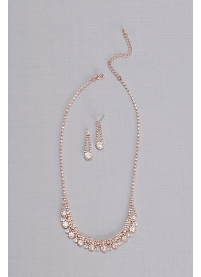 Crystal Chain Round-Cut Necklace and Earring Set - Dazzling round-cut crystals are suspended from equally brilliant