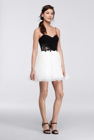 Black and White Short Homecoming Dresses