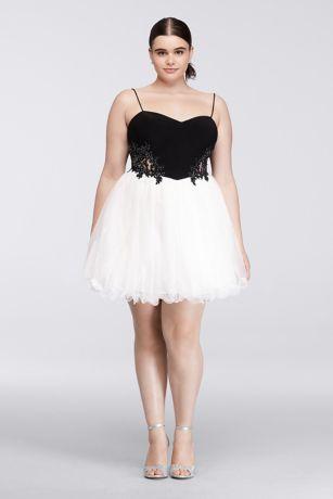 Black and White Plus Size Short Dresses