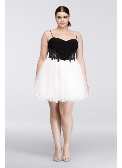 Short Plus Size Homecoming Dress with Ballet Skirt | David\'s ...