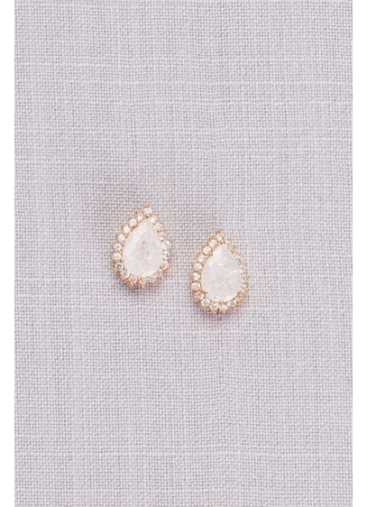 David's Bridal Yellow (White Cubic Zirconia Halo Teardrop Earrings)