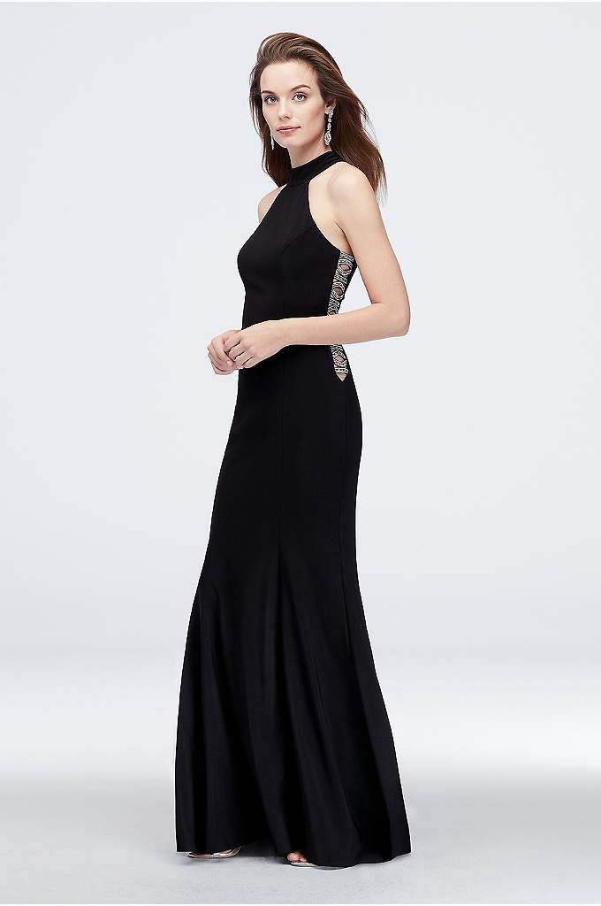 High-Neck Jersey Sheath Dress with Beaded Cutouts