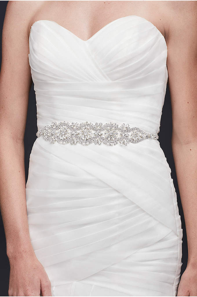 Graduated Pearl and Crystal Blossom Medallion Sash - The perfect finishing touch for your wedding dress,