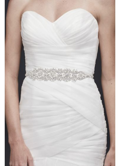 David's Bridal Grey (Graduated Pearl and Crystal Blossom Medallion Sash)