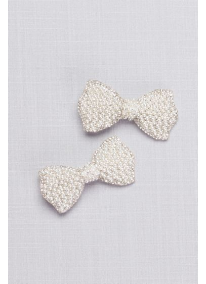 Pearl-Topped Flower Girl Hair Bow Set - Wedding Accessories