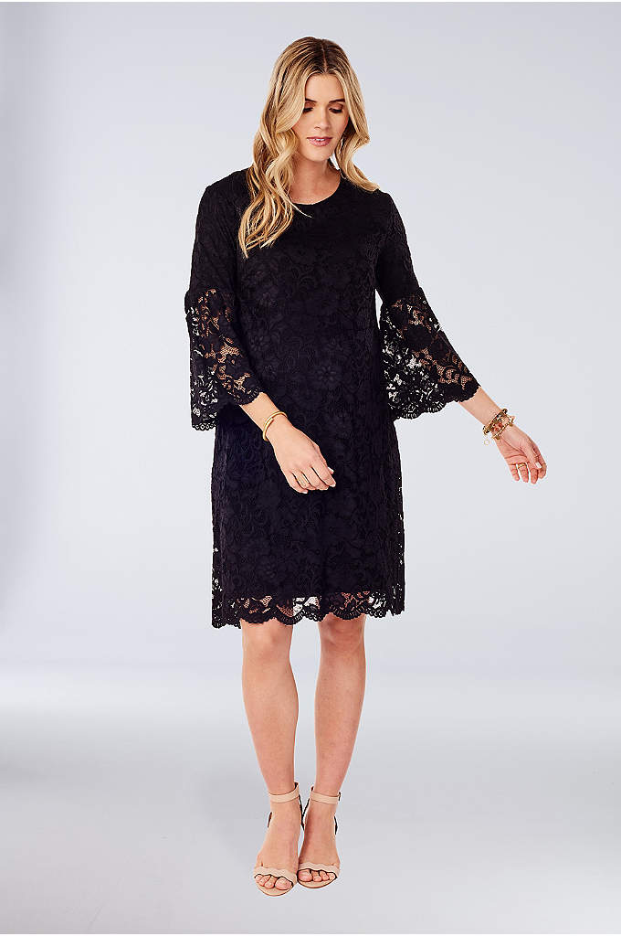 Lace Bell-Sleeve Maternity Swing Dress - A pretty choice for special occasions, this lace