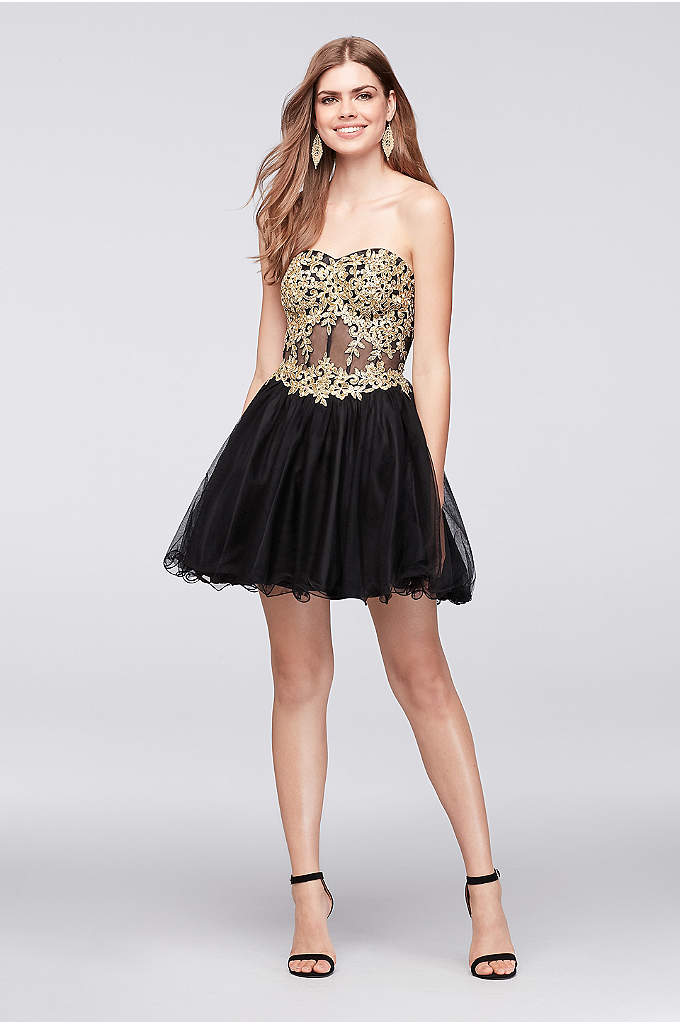 Short Party Dress with Embroidered Illusion Corset