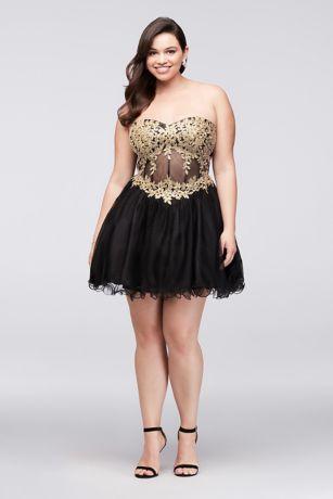 Embroidered Illusion Corset Plus Size Dress | David\'s Bridal