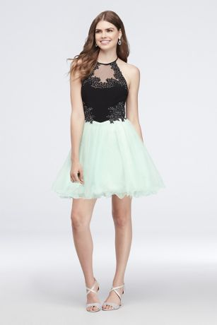 Short Ballgown Halter Dress - Blondie Nites