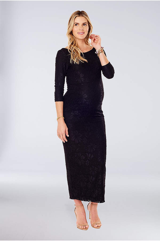 Long Lace Maternity Sheath Dress with 3/4 Sleeves - Made of comfortable stretch knit fabric, this long