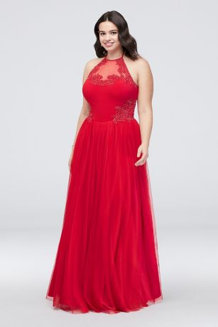Long Ballgown Halter Dress - Blondie Nites