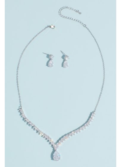 Cubic Zirconia Teardrop Necklace and Earrings Set - This glamorous earrings and necklace set has a