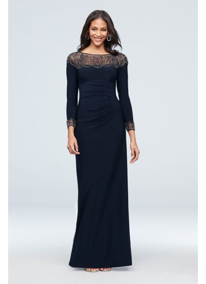 Beaded Jersey Long Sleeve Sheath Dress - This ultra-chic jersey sheath dress features asymmetrical pleating