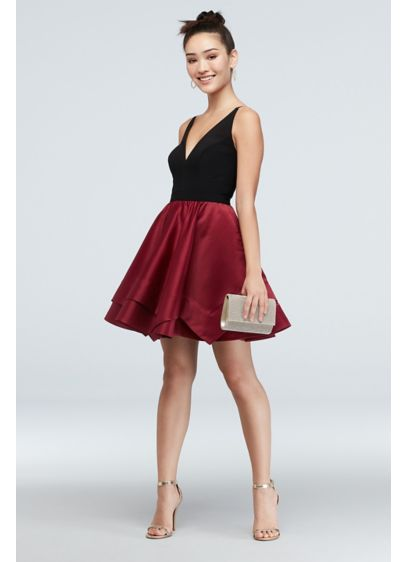 Plunging-V Satin Double Hem Fit and Flare Dress - A plunging-V neckline at the front and back