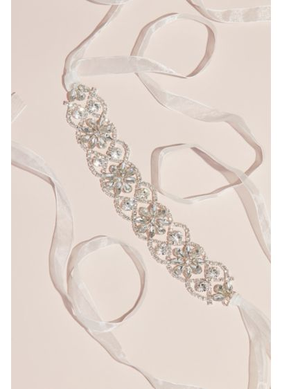 Interlocking Crystal Flower Girl Sash - Tied with an organza bow, this sparkly sash