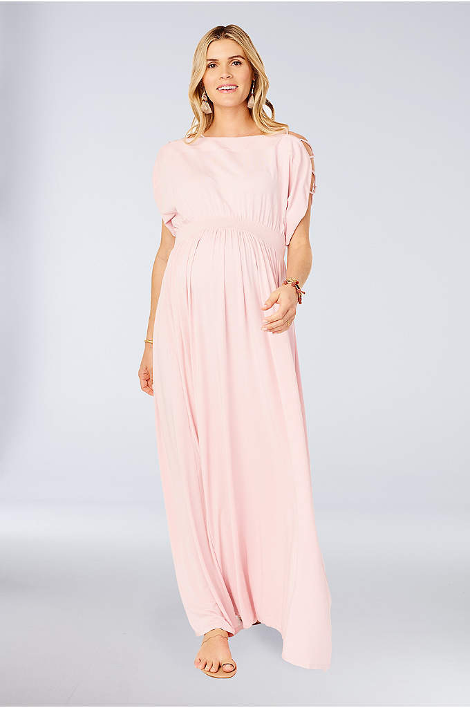 Maternity Jersey Maxi Dress with Shoulder Cutouts - Pretty details like shoulder cutouts and smocking at