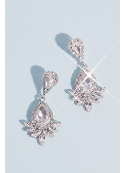 Pear Cut Drop Earrings with Marquise and Pave - This pair of drop earrings adds extra wow-factor
