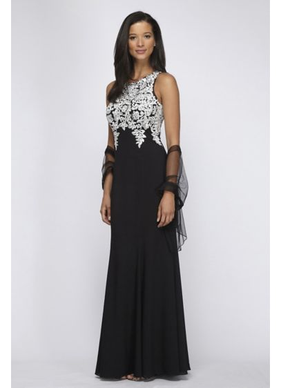 Crepe Gown with Sequin Lace Appliques and Shawl - Trailing vines of sequin lace bring a touch