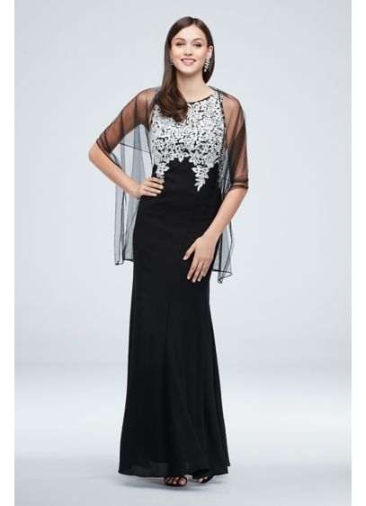 Embroidered Crystal-Accented Vines Gown with Shawl - Richly embroidered vines and leaves, accented with sparkling