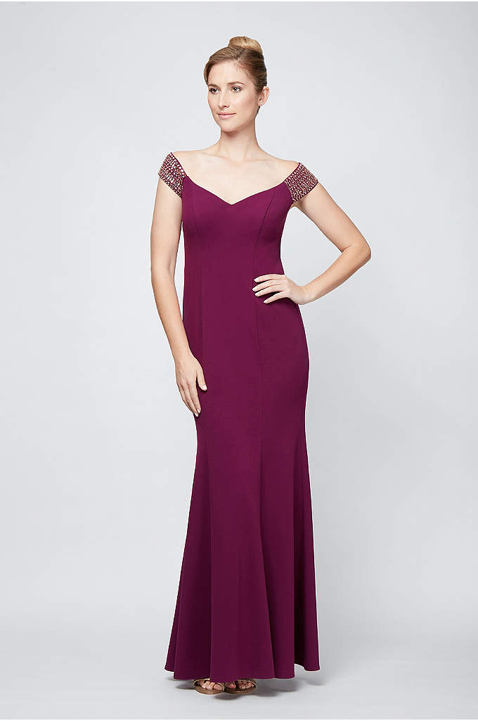 Off-the-Shoulder Trumpet Gown With Beaded Straps - Geometrically beaded off-the-shoulder sleeves give this jersey trumpet