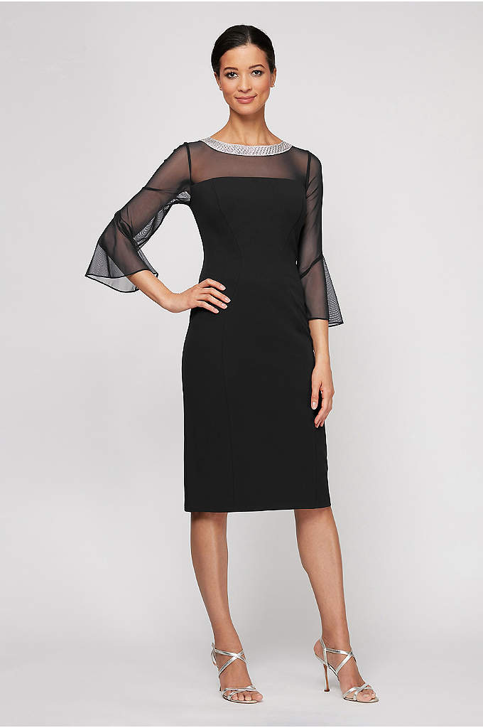 Beaded Collar Illusion Sheath Dress