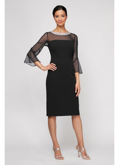 Beaded Collar Illusion Sheath Dress - No necklace required when wearing this stunning crystal-collared,