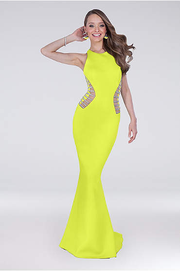 Yellow Halter Mermaid Dress with Bodice Cutouts