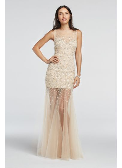 Bead Embellished Illusion Tulle Prom Dress | David\'s Bridal