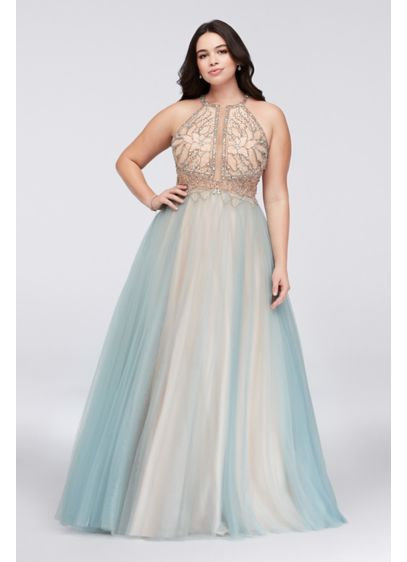 big sale authorized site separation shoes Layered Tulle Plus Size Dress with Beaded Bodice | David's ...