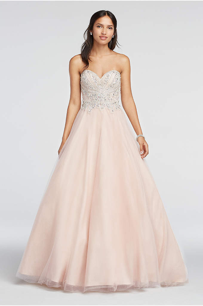 Crystal Beaded Strapless Sweetheart Prom Dress