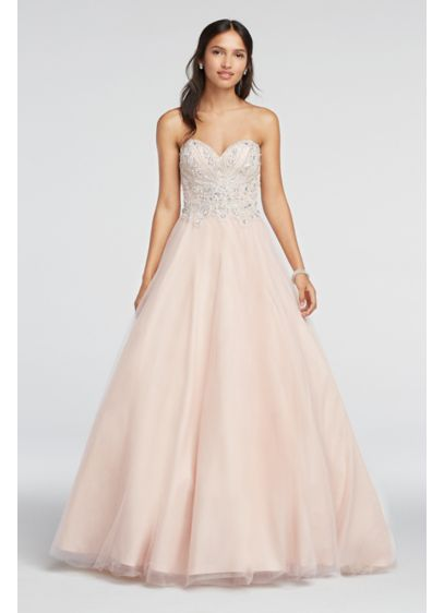 Crystal Beaded Strapless Sweetheart Prom Dress | David\'s Bridal