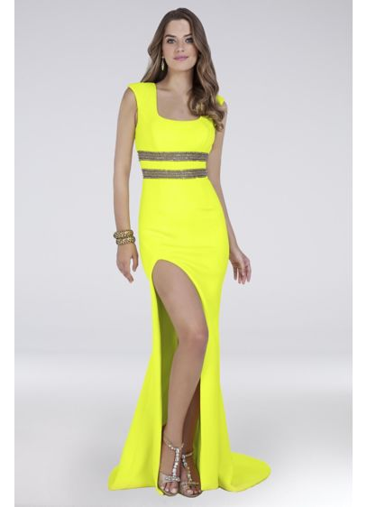 Cap-Sleeve Yellow Jersey Dress with Beaded Waist - Topped with cap sleeves and a beaded waist,