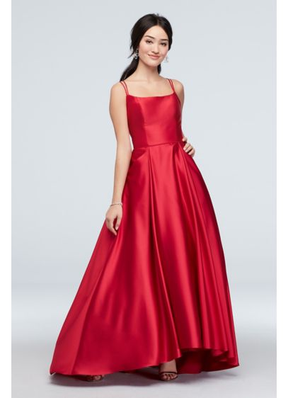 Double Skinny Strap Satin Ball Gown with Pockets - Double spaghetti straps and a crisscross back lend