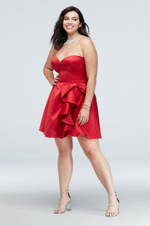 Bow Ruffle Strapless Fit-and-Flare Plus Size Dress | David\'s Bridal