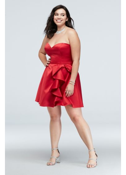 Bow Ruffle Strapless Fit-and-Flare Plus Size Dress - This sweetheart strapless fit-and-flare plus-size dress is fit