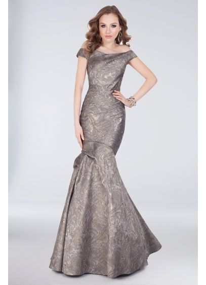 Off-the-Shoulder Marbled Jacquard Mermaid Gown - Dramatic and daring, this off-the-shoulder jacquard mermaid gown