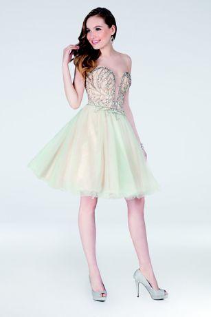 Short Ballgown Strapless Dress - Terani Couture