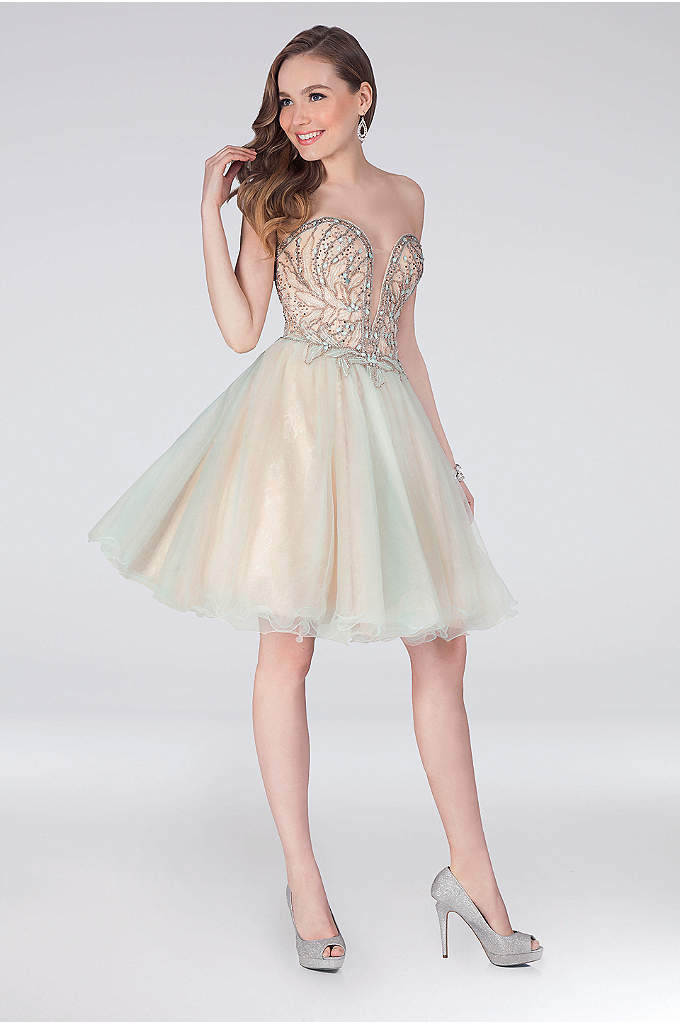 Appliqued Sweetheart Short Fit-and-Flare Dress - The plunging illusion sweetheart bodice of this fun