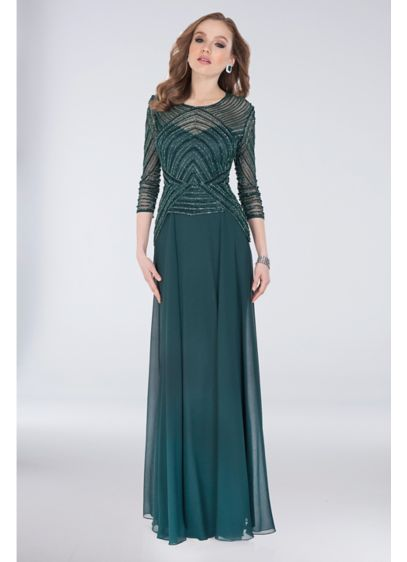 Beaded Bodice Georgette Sheath Gown with Peplum - This flowing georgette gown's angular Art Deco-inspired beaded
