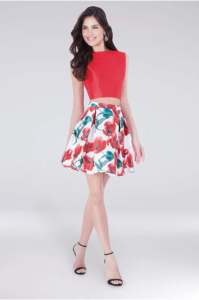 High-Neck Mikado Two-Piece Dress with Floral Skirt - Shiny mikado fabric makes a statement on the