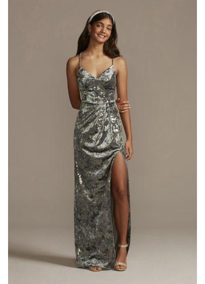 Long Grey Soft & Flowy City Triangles Bridesmaid Dress