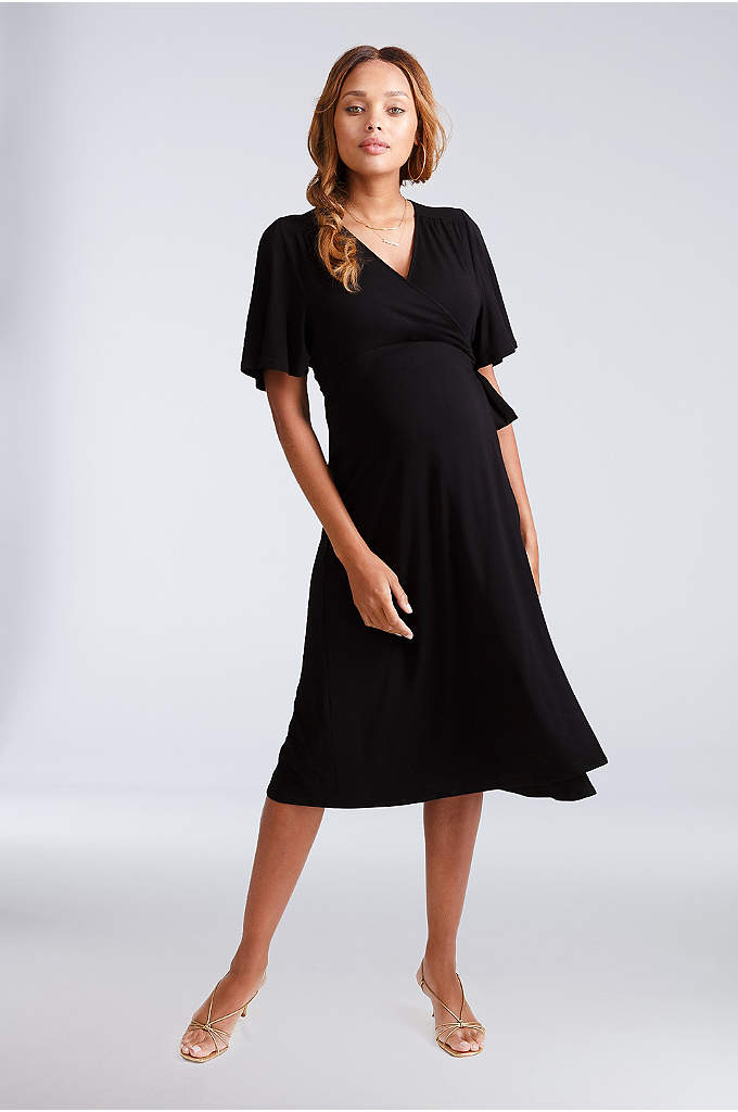 Maternity Flutter Sleeve Jersey Wrap Dress - The perfect dress-up, dress-down piece for every event,