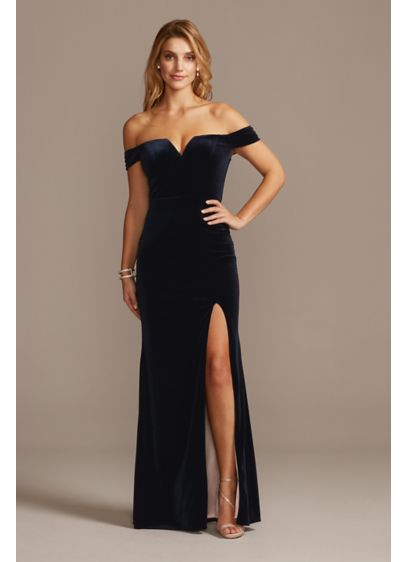 Notched Off the Shoulder Velvet Gown with Slit - Old Hollywood glam meets modern-day chic in this