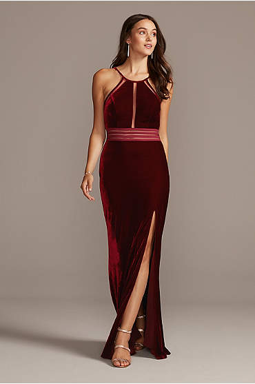 Stretch Velvet High Neck Gown with Sheer Details
