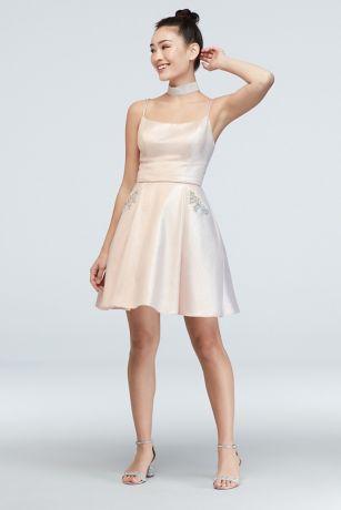 Short Ballgown Spaghetti Strap Dress - Blondie Nites