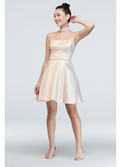 Iridescent Strappy Dress with Embellished Pockets - You'll shimmer and shine in this gorgeous iridescent